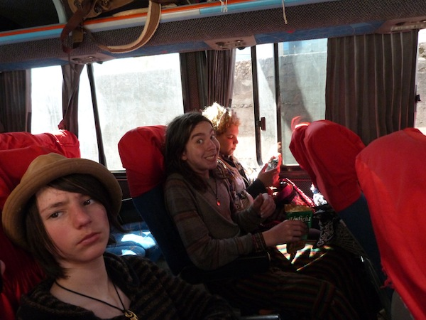Funny face on the bus