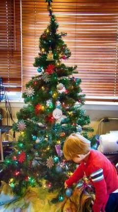 NinjaBaby putting Ornaments on the Tree