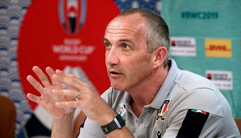 Conor O'Shea, allenatore dell'Italrugby, in conferenza stampa alla Rugby World Cup 2019. Foto: Getty.