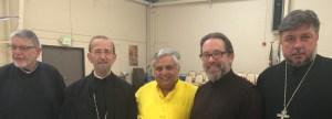 From left to right are— Retired Greek Orthodox priest George Bratiotis, Metropolitan Gerasimos, Hindu statesman Rajan Zed, Reno St. Anthony Greek Orthodox Church Presiding Priest Stephen Karcher, Russian Orthodox priest Father Oleg.