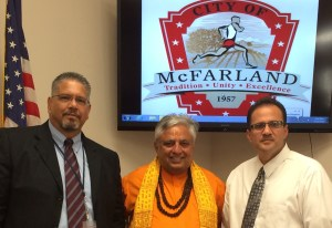 Just before the McFarland City Council Hindu invocation, from left to right are—City Manager John Wooner, Hindu statesman Rajan Zed and Mayor Manuel Cantu Junior.