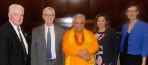 Just before the Hindu prayer in Nevada State Assembly, from left to right are: Nevada Assembly Speaker John Hambrick, Assemblyman Erven T. Nelson, Hindu statesman Rajan Zed, Assemblywoman Teresa Benitez-Thompson and Assemblywoman Heidi Swank.