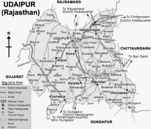 Udaipur District Road Map