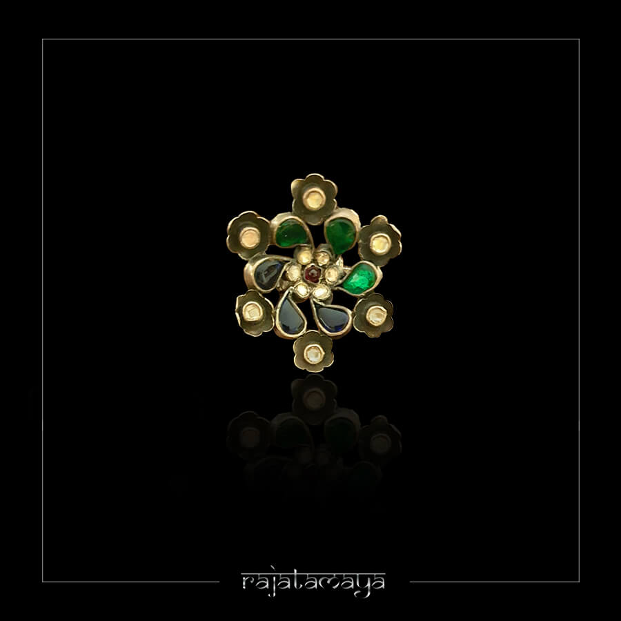 Silver Kundan Adjustable finger ring with Blue, green and white stones