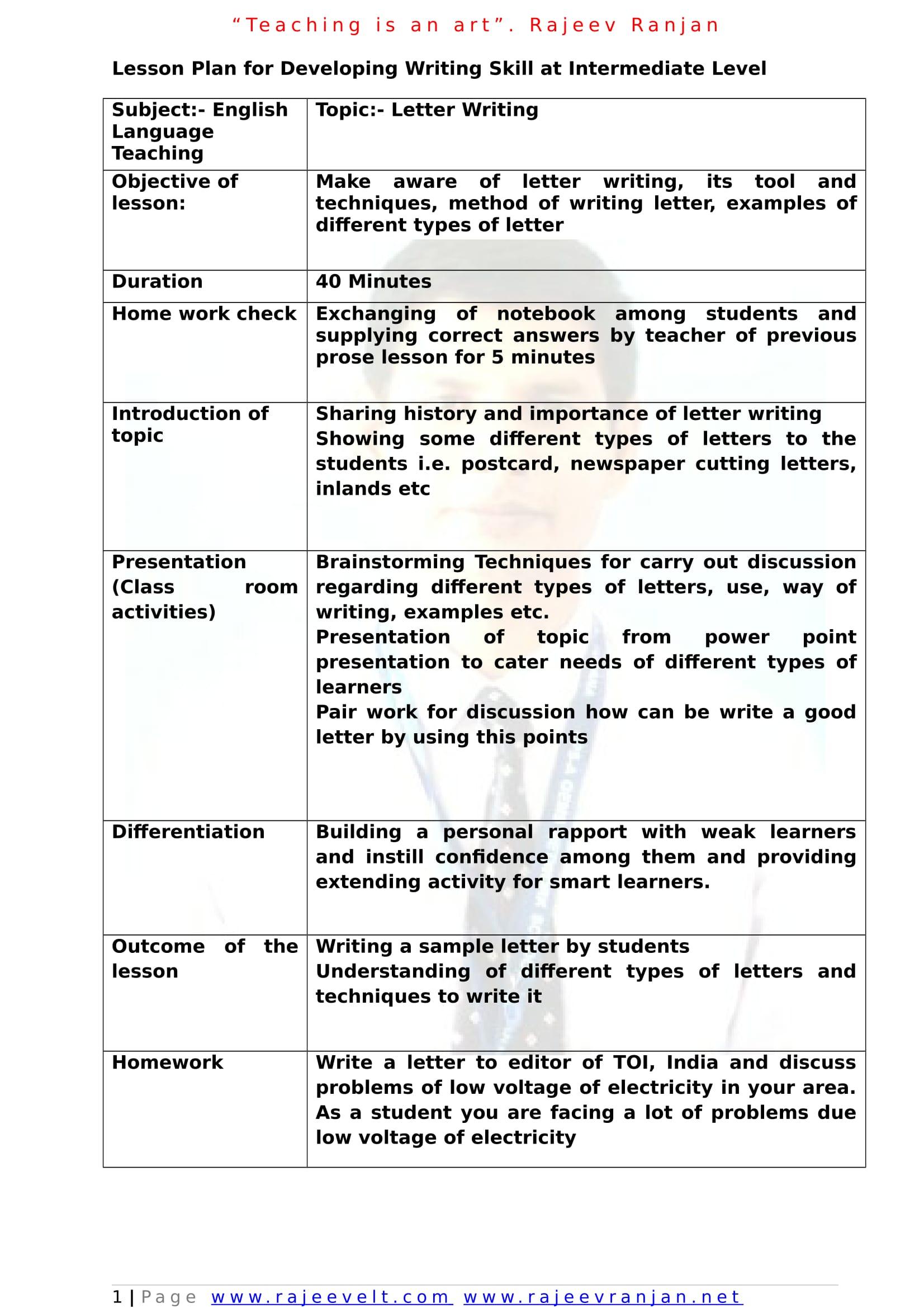 Lesson Plan Job Application Letter
