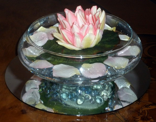 Floating Lotus in a Glass Bowl