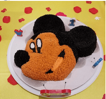 Mickey Mouse Cake with Fresh Homemade Vanilla Frosting