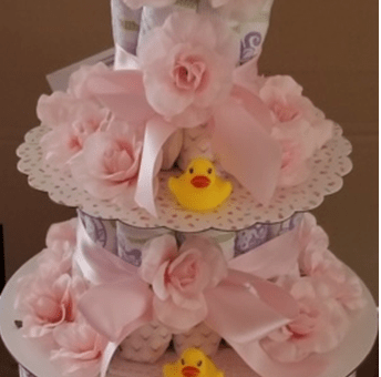 Beautiful Diaper Cake for a Baby Girl