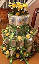Diaper cake for a Hawaiian theme Baby Shower.