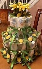 Diaper cake for a Hawaiian theme Baby Shower.