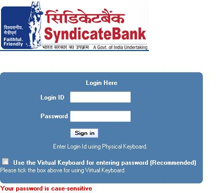 application for availing internet banking services syndicate bank
