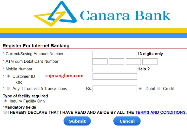 How to Activate Canara Bank Internet Banking Online ?