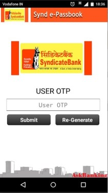 Synd e-passbook Generate One Time Password