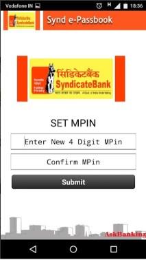 Syndicate Bank e-passbook Creating MPIN