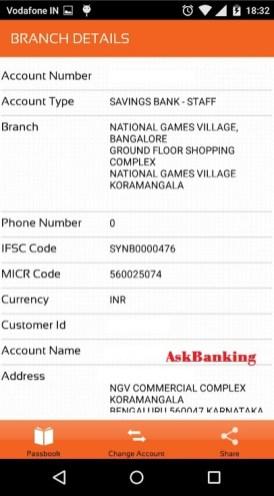 Syndicate Bank e-passbook Branch Details