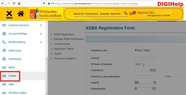 Apply IPO From Syndicate Bank ASBA
