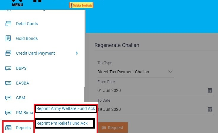 Syndicate Bank Online Tax Payment, Download Duplicate Receipt