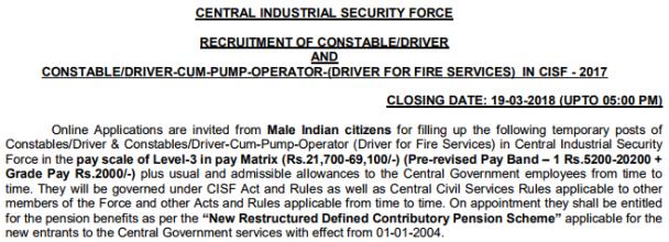 CISF Driver Recruitment 2018