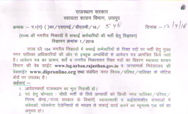 Rajasthan Safai Karmi Bharti