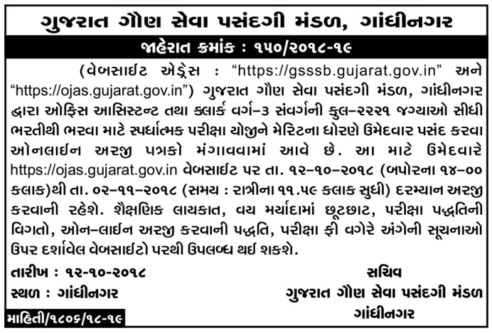 gsssb bin sachivalay clerk