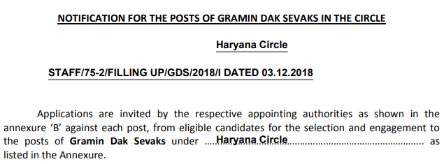 Haryana Gramin Dak Sevak Recruitment