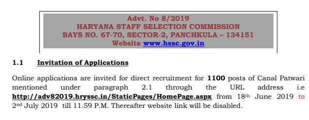 HSSC Haryana Patwari Recruitment 2019 Apply Online Form For