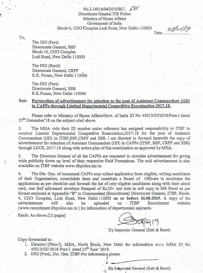 BSF Assistant Commandant Recruitment