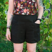 Black Tencel Twill Pietra Shorts