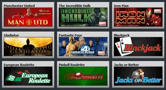 Betfair Casino games selection.