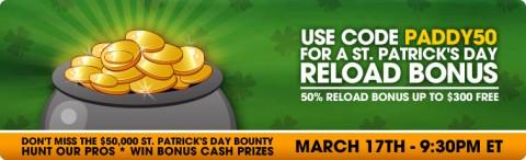 DoylesRoom reload bonus on St Patrick's Day.