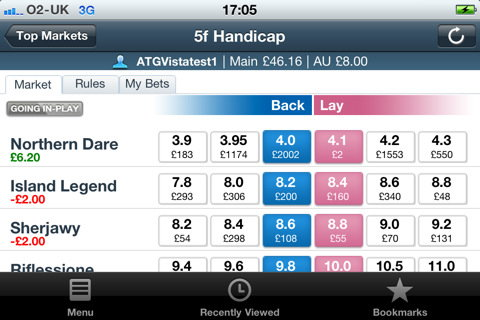 Odds displayed in iPhone Betfair App.