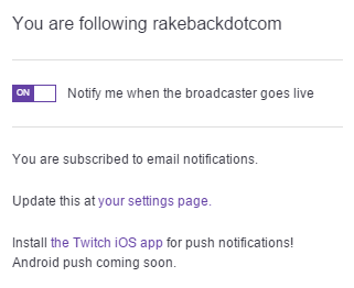 Twitch TV Notifications