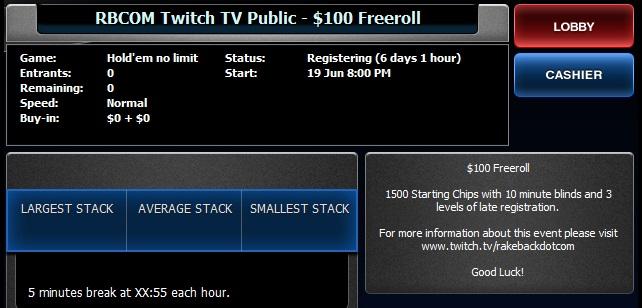 Rakeback Twitch - Public Freeroll