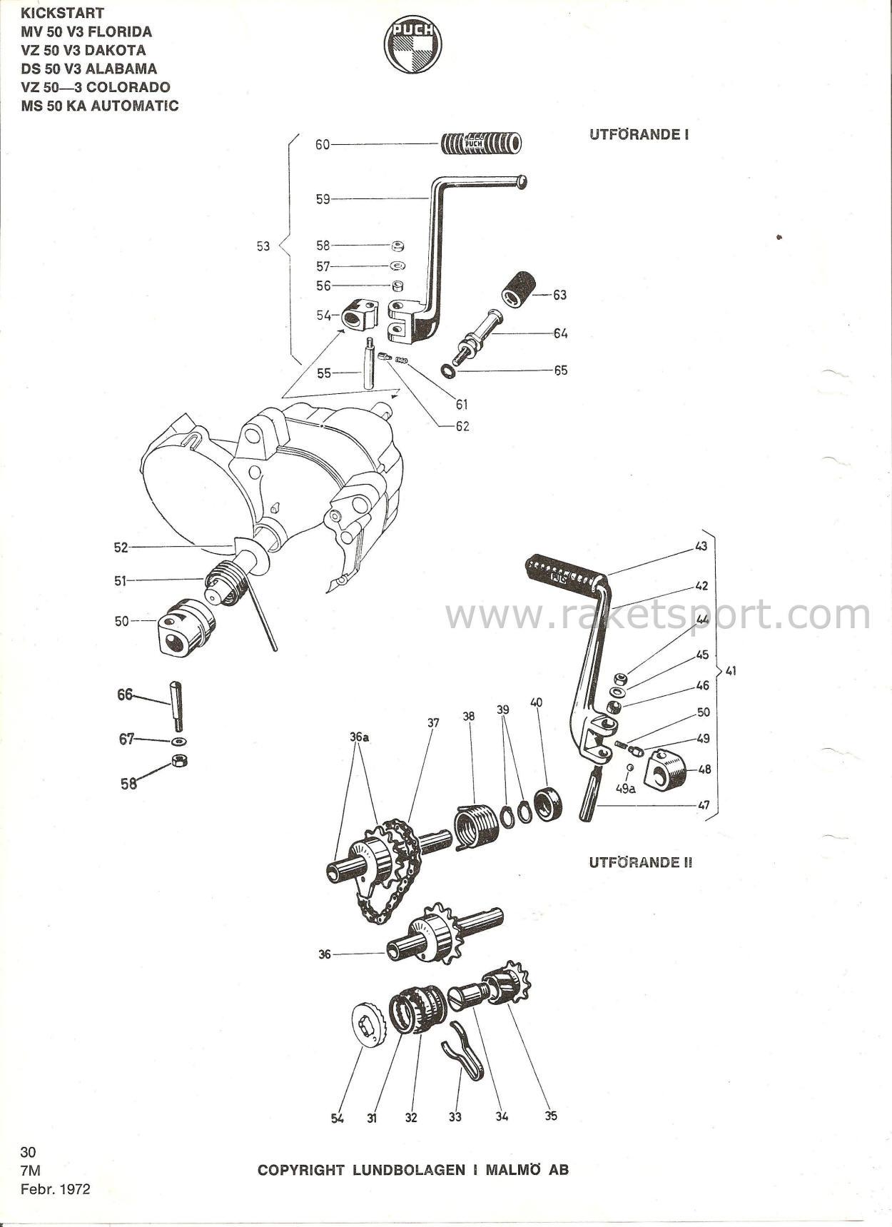 Puch Reservdelskatalog Inneh Llande Motorer For Puch Modeller Fr Vz 50 3 Vz50 V3 Mv 50