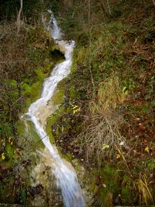 L'écriture une petite cascade eau de source dans la nature