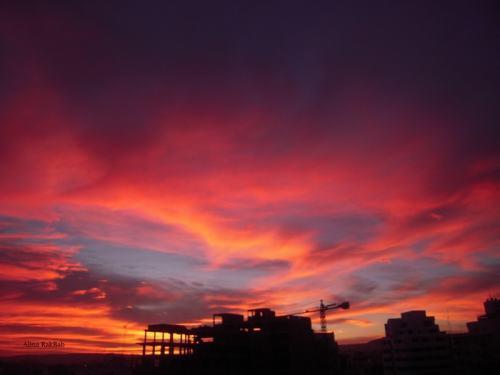 coucher de soleil ombre couleur rouge vermeille