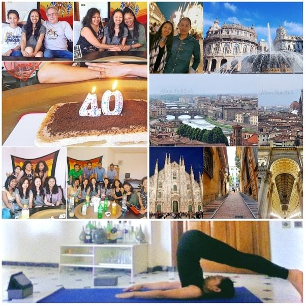 Rétrospective mosaique de photos sur la célébration de mon anniversaire 40 ans, mes voyages en Italie, ma pratique de yoga