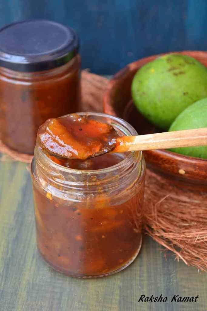 Raw mango sweet and sour pickle, raw mango god mel, god mel, goad meil