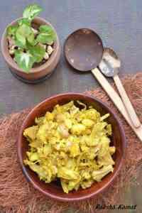 Raw jackfruit subzi, raw jackfruit sushel, raw jackfruit recipe, cooking raw jackfruit, sushel recipe