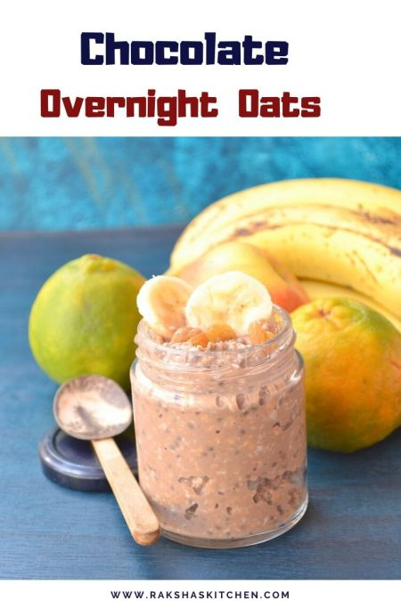 overnight chocolate oats in a jar