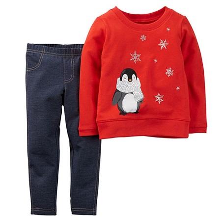 Toddler Girl Carter's Penguin Top Set