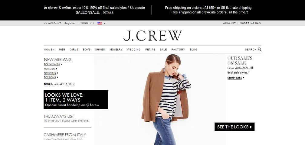 JCrew Homepage