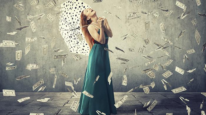 Woman Umbrella Raining Money