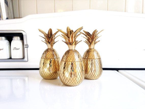 Etsy gold pineapple candle holders