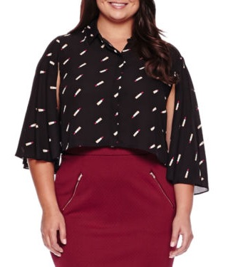 Cropped Long-Sleeve Button Down Shirt