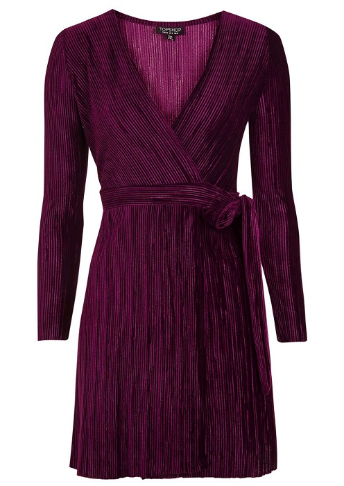 Pleated Velvet Wrap Dress