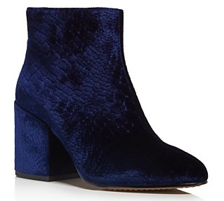 FRENCH CONNECTION Dilyla Croc Embossed Velvet Block Heel Booties