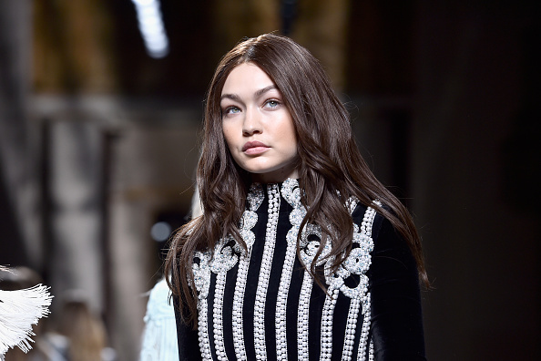 Gigi Hadid walks the runway during the Balmain show as part of the Paris Fashion Week Womenswear Fall/Winter 2016/2017 on March 3, 2016 in Paris, France