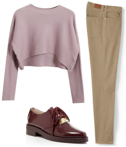 Mens slim fit jeans, crop sweater and oxford shoes