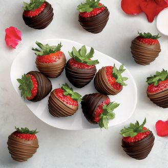 Milk & Dark Chocolate Covered Strawberries, Dozen for New Year's Eve Party
